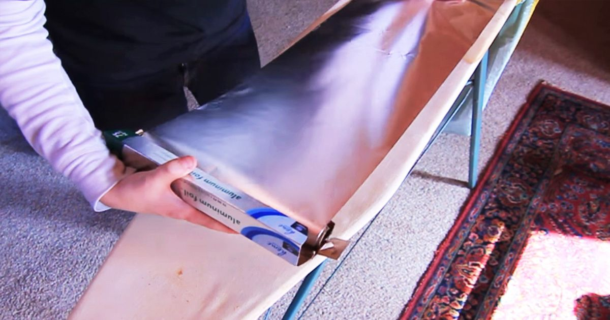 stretch aluminum foil over your ironing board for this nifty reason